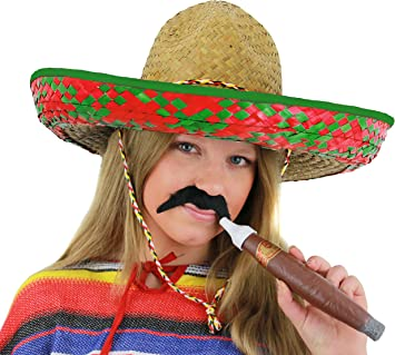 GREEN MEXICAN STRAW SOMBRERO HAT MENS OR LADIES IDEAL FANCY DRESS