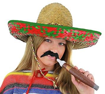 32d376e9dc90f Señoras sombrero mexicano verde + negro bigote + Jumbo Cigar Fancy Dress  Accessory gorro Tash vacaciones paja para despedida de soltera  Amazon.es   Juguetes ...
