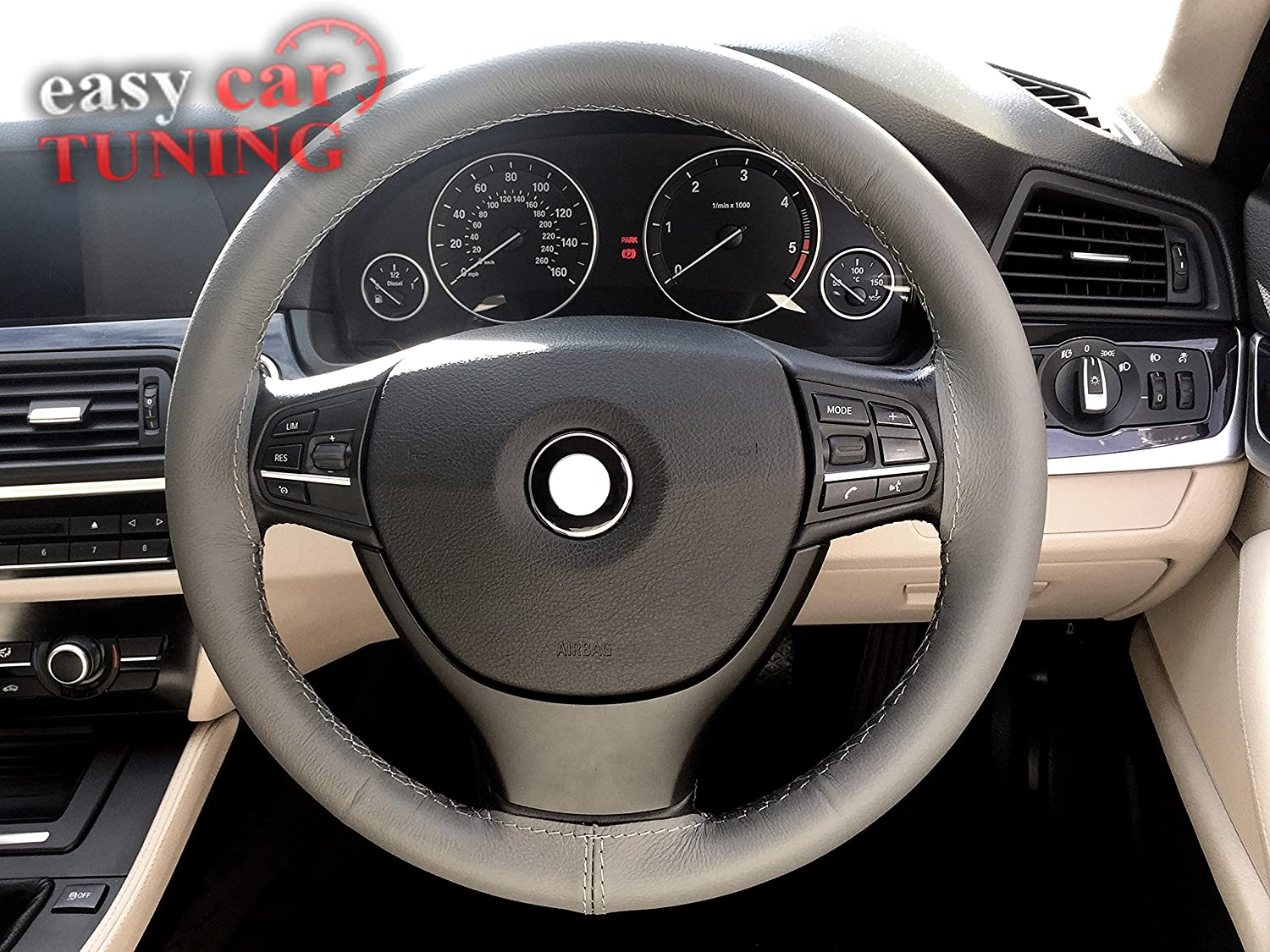 GREY REAL GENUINE LEATHER STEERING WHEEL COVER GREY STITCHES