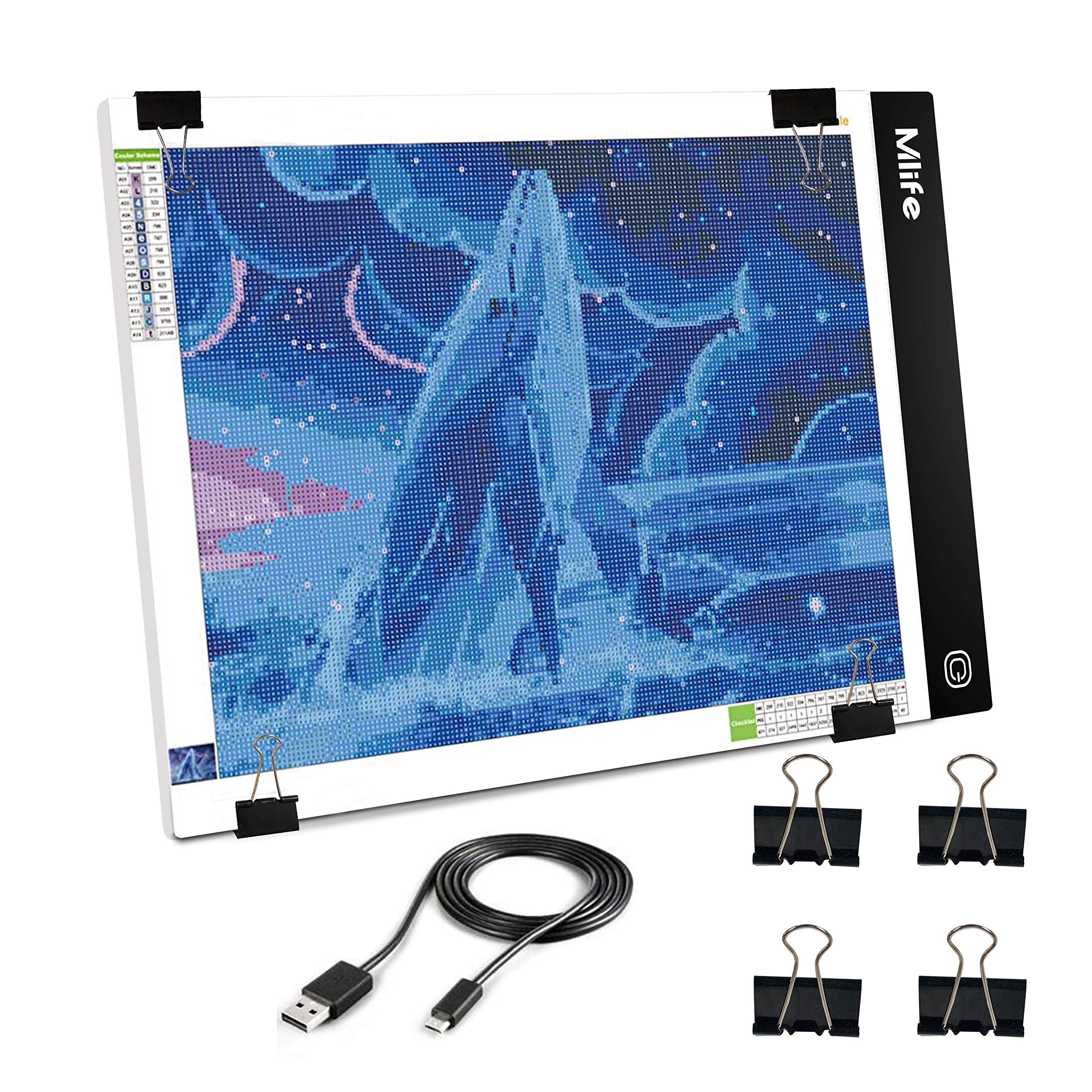 Mlife B4 LED Light Pad - Upgraded Diamond Painting Light Box Dimmable Tracing Light Board, Sketching, Animation, Drawing Light Box with 4 Fasten Clips by Mlife