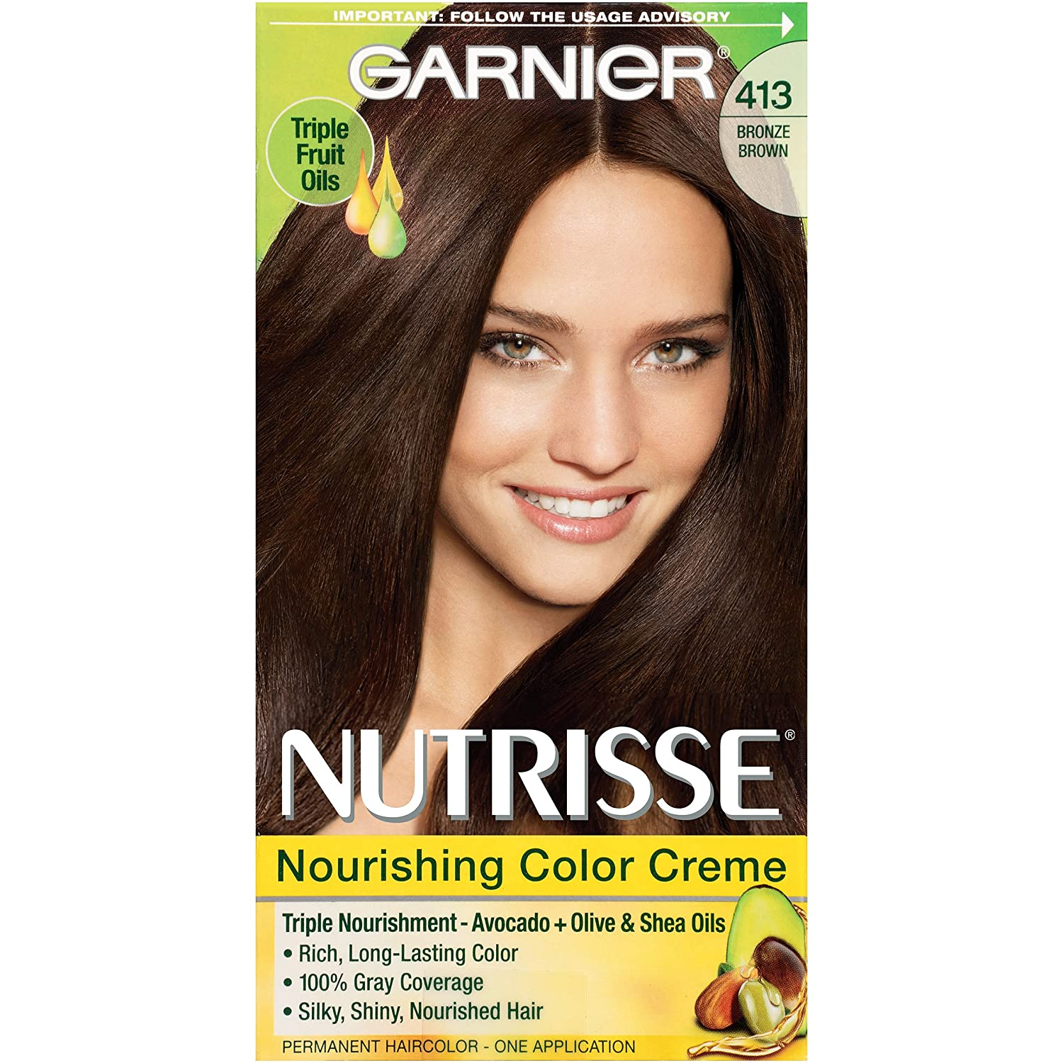 Garnier Nutrisse Nourishing Hair Color Creme, 413 Bronze Brown ...