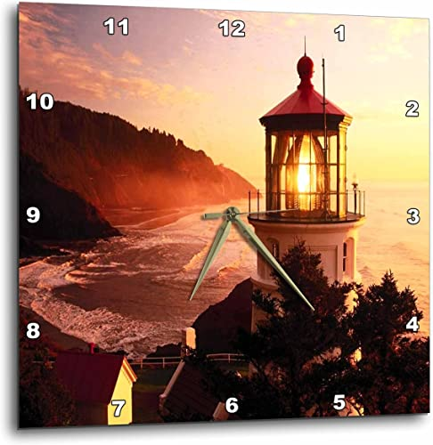 3dRose DPP_57611_3 Lighthouse at Devils Elbow Park Oregon-Wall Clock, 15 by 15-Inch