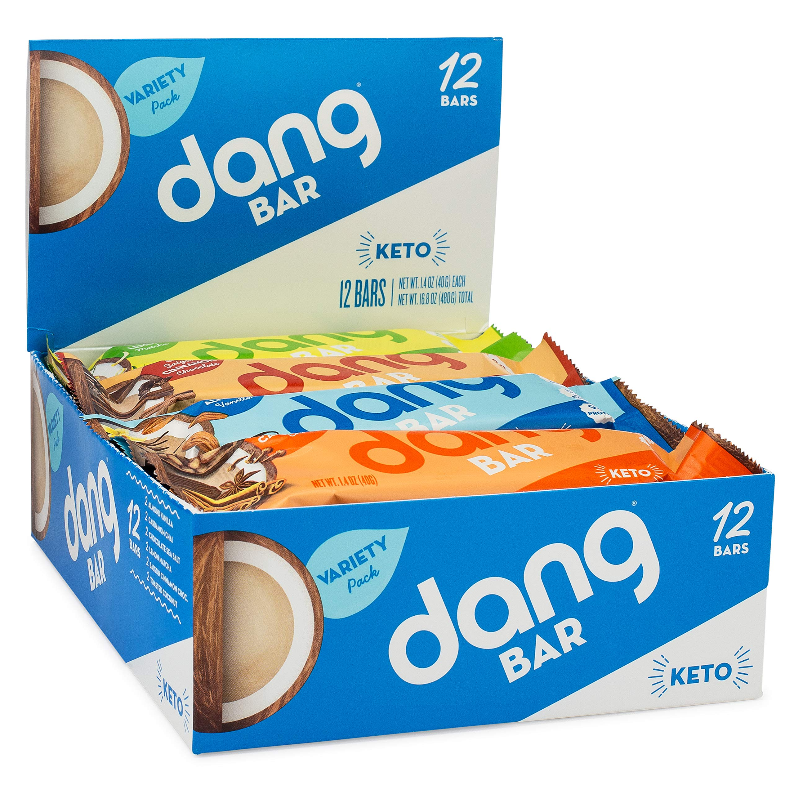 NEW! Dang Bar- KETO CERTIFIED, Low Carb, Plant Based, Gluten Free, Real Food Snack Bar, 1-3g Sugar, 4-5g Net Carbs, No Sugar Alcohols or Artificial Sweeteners, 12 Count (6 Flavor Variety Pack) by DANG (Image #9)