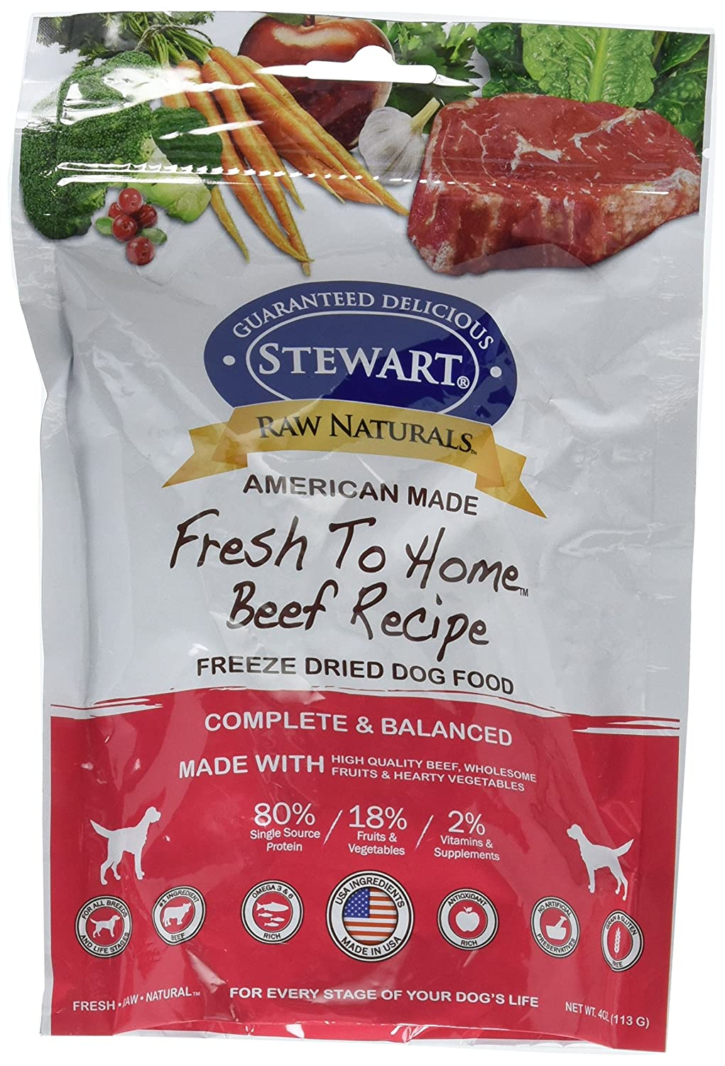 Stewart Raw Naturals Freeze Dried Dog Food in Resealable Pouch Beef 4 Oz, 1 Pouch Lambert Vet Supply 402761