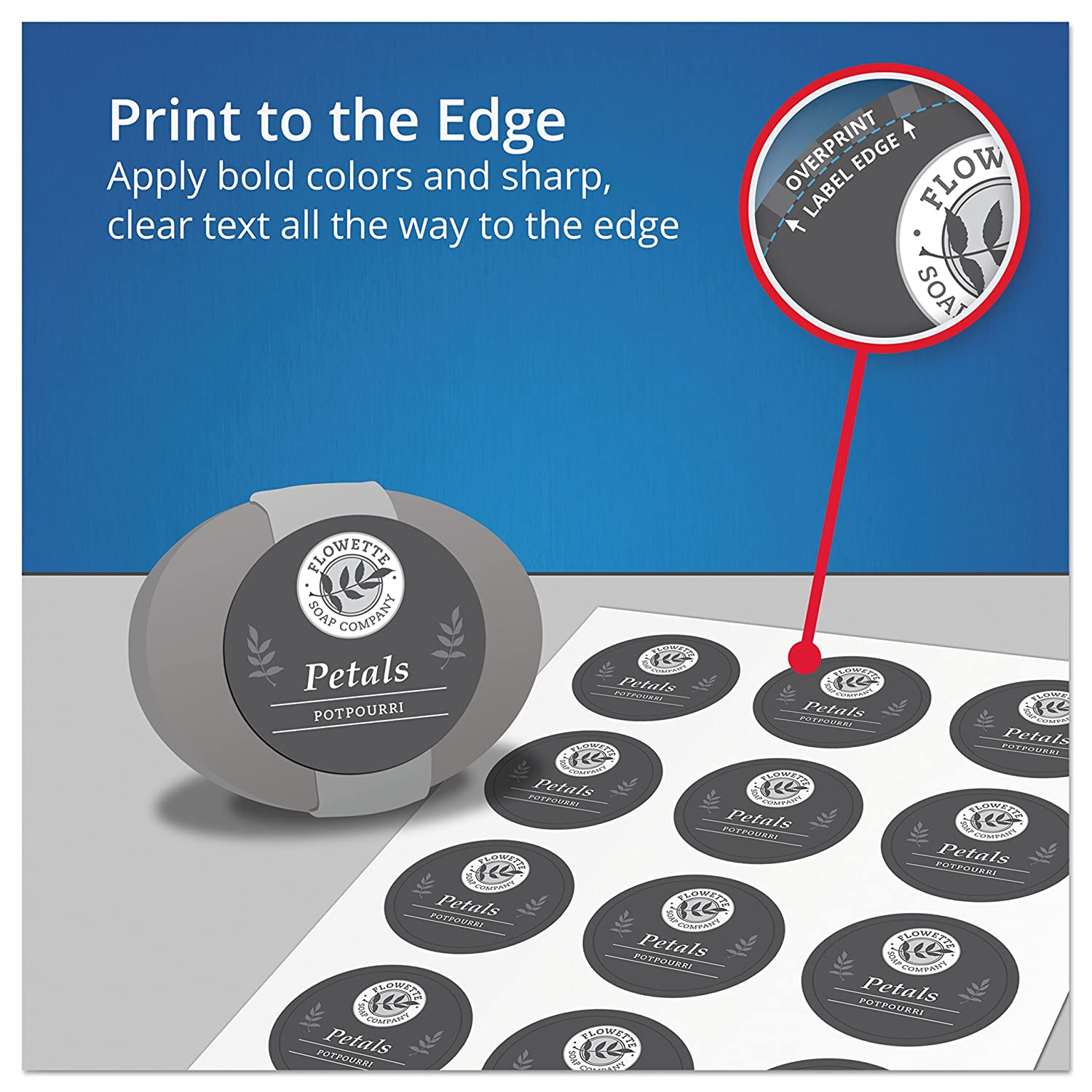Avery Easy Peel Permanent Print-To-The-Edge Round Labels, Laser ...