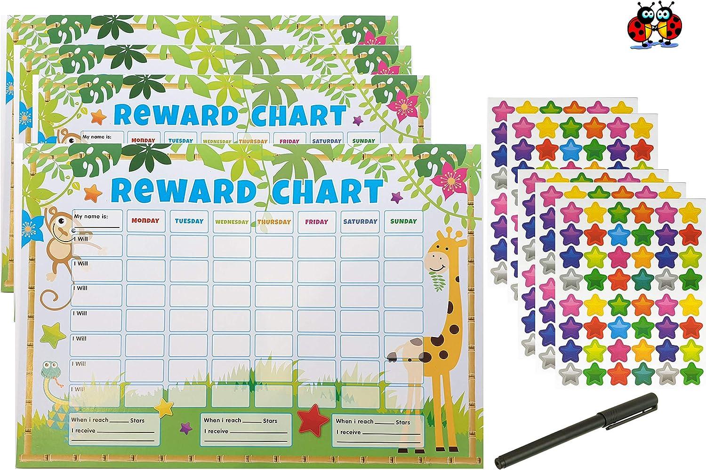 Pour lentra/înement au pot et laide au bon comportement Tableau de r/écompenses pour enfants Avec plus de 200 autocollants en /étoile
