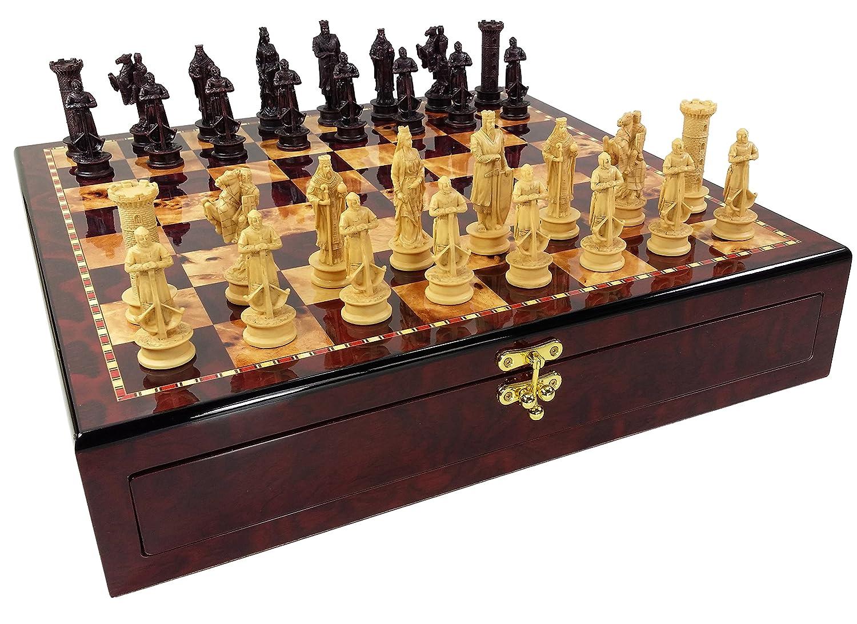 大人気新作 Medieval Antique Times King and Richard the Lionheart Knights B0723B5GSF Antique Color Chess Men Set W/ High Gloss Cherry and Burlwood Color B0723B5GSF, YOU-shop:7e6f6444 --- nicolasalvioli.com