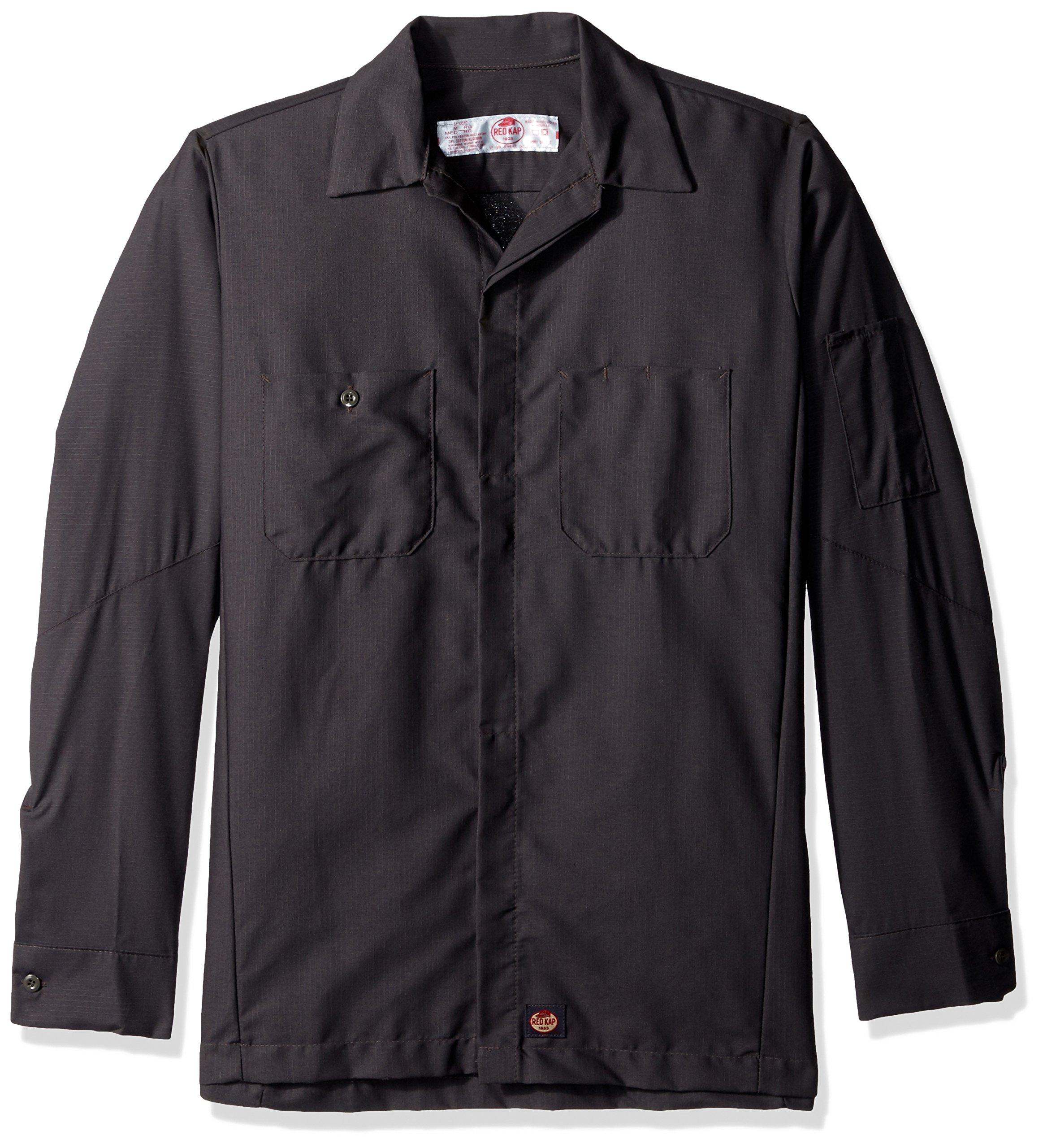 Red Kap Men's Ripstop Crew Shirt, Long Sleeve, Charcoal, Small