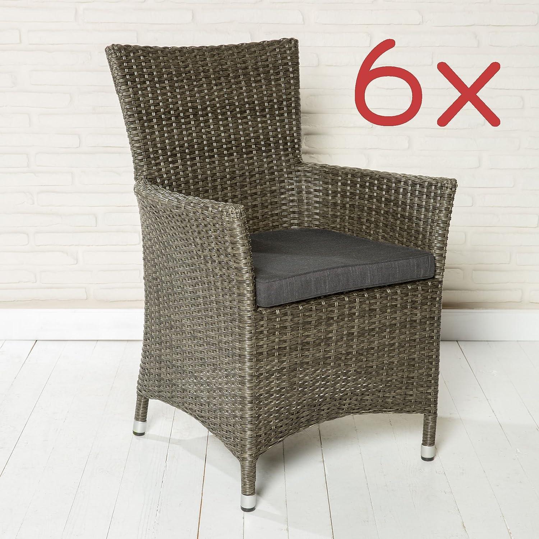 6er Set Gartenstühle Gartensessel POLY RATTAN grau Gartenmöbel Stühle Gartenset