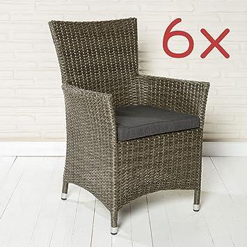 Entzuckend 6er Set Gartenstühle Gartensessel POLY RATTAN Grau Gartenmöbel Stühle  Gartenset