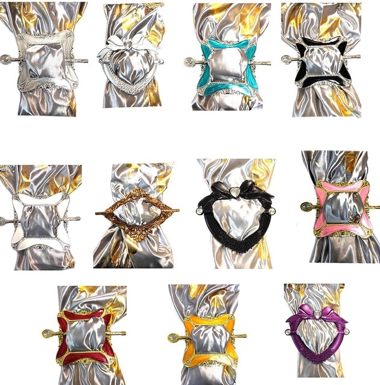 Pack de 2 Attache Rideaux de Luxe Porte-Pince dans un Design Unique et Différent en forme de coeur/argenté AUCUNE