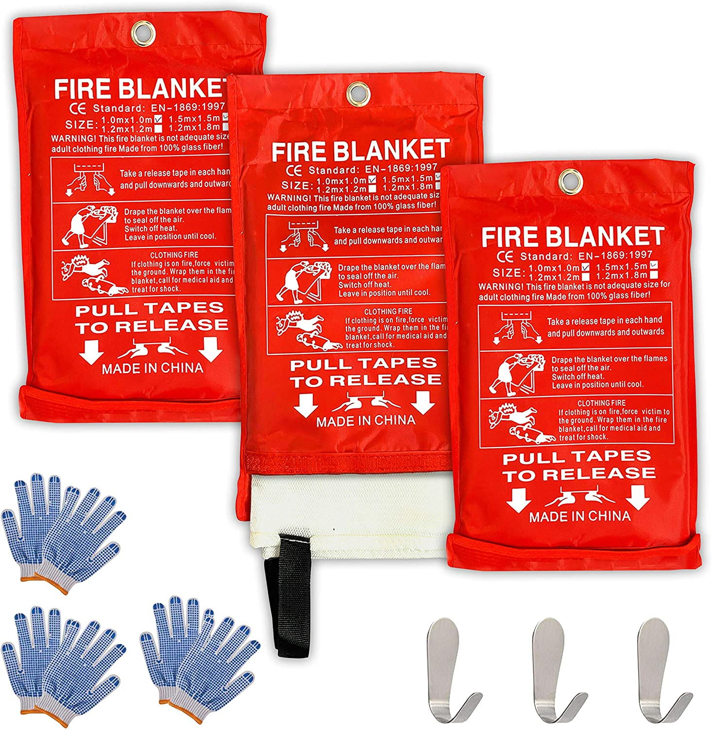 """Safe Fire Blanket Emergency Survival Kit, Includes Fire Suppression & Extinguisher Blankets with Protective Gloves and Hooks Good for a Safety Camping, Grilling, Kitchen, Car & People Size 40""""x40"""""""