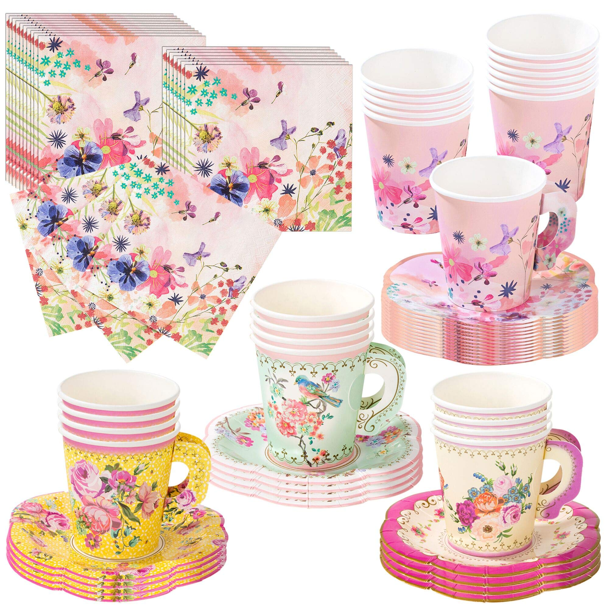 Talking Tables Vintage Tea Party Supplies | Vintage Floral Napkins & Tea Cups with Saucer Sets | Also Great for Wedding Parties, Bridal Shower, Baby Shower and Birthday Party
