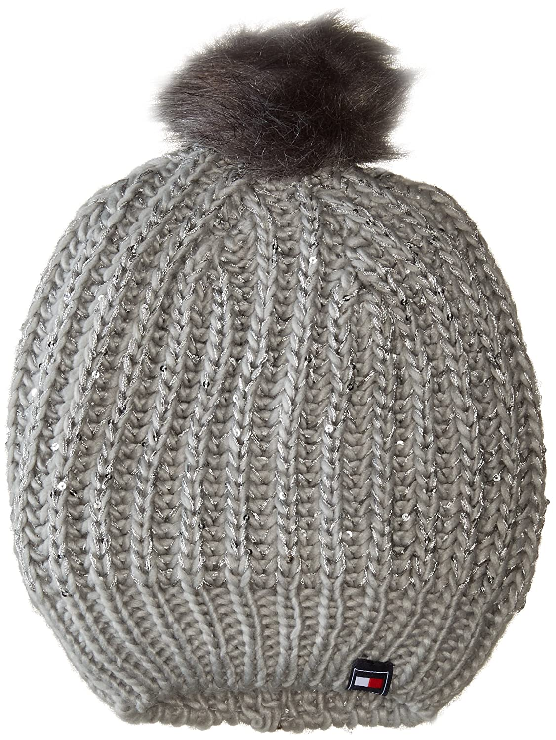 fa3048e1a Tommy Hilfiger Women's Chunky Beaded Beanie with Faux Fur Pom ...