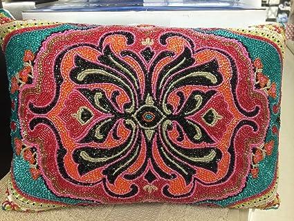 Amazon MAX STUDIO MOROCCAN MEDALLION Beaded RED AQUA BLACK Amazing Max Studio Home Decorative Pillow