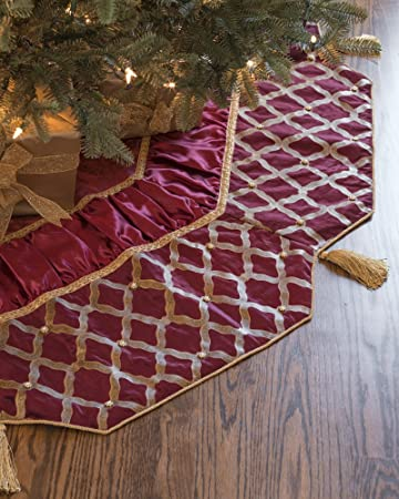 Amazon.com: Balsam Hill Beaded Tree Skirt, 72 inches, Bordeaux ...