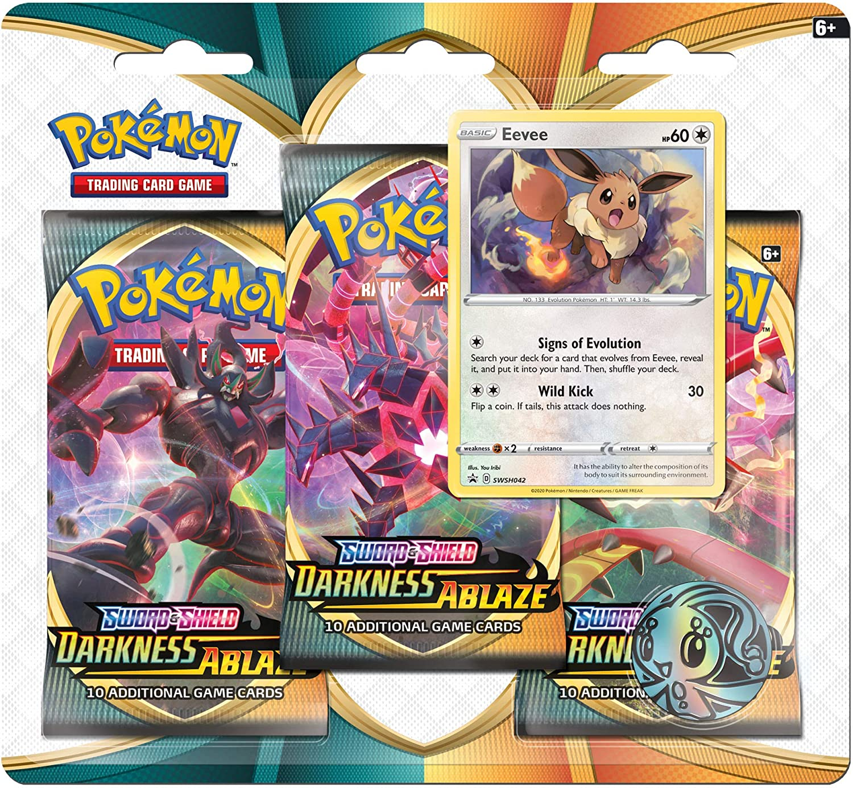 Pokemon TCG Sword /& Shield Darkness Ablaze 3-Pack Booster Blister Packs Set of 2