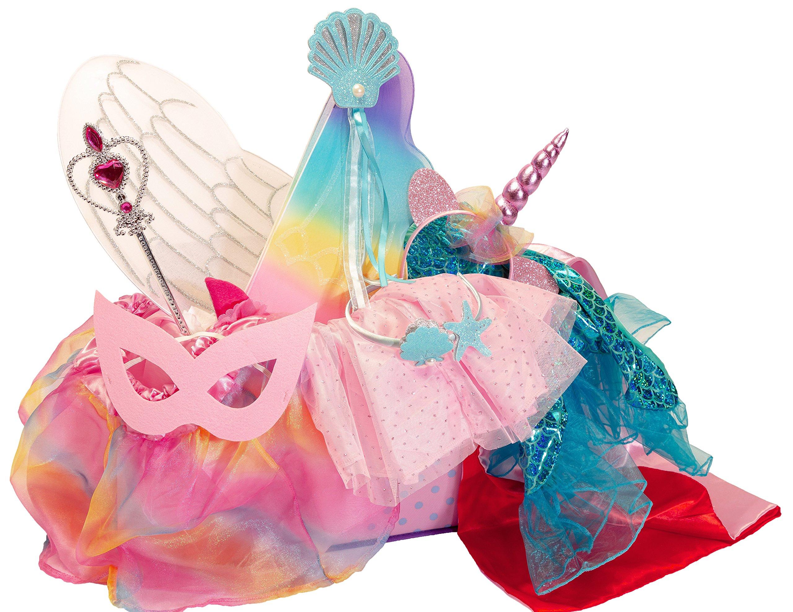 Girls Dress Up Set: Unicorn, Superhero, Angel, Mermaid, Princess - with Storage bin Pink