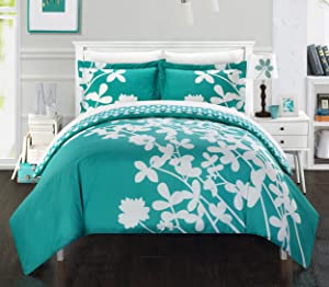 Chic Home 3 Piece Calla Lily Reverse Duvet Cover Set, King, Turquoise