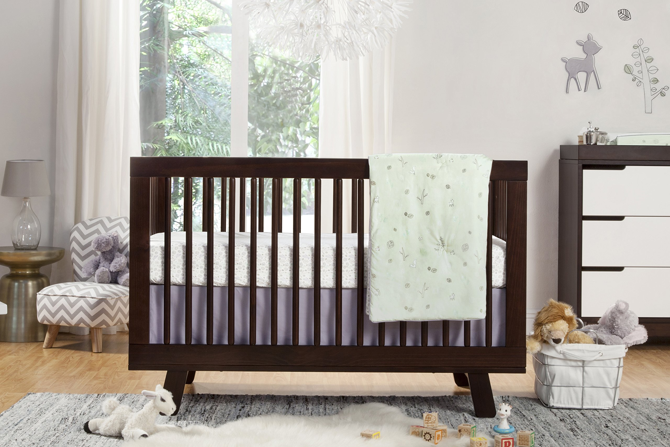 Babyletto 5-Piece Nursery Crib Bedding Set, Fitted Crib Sheet, Crib Skirt, Play Blanket, Contour Changing Pad Cover & Wall Decals, Tranquil Woods