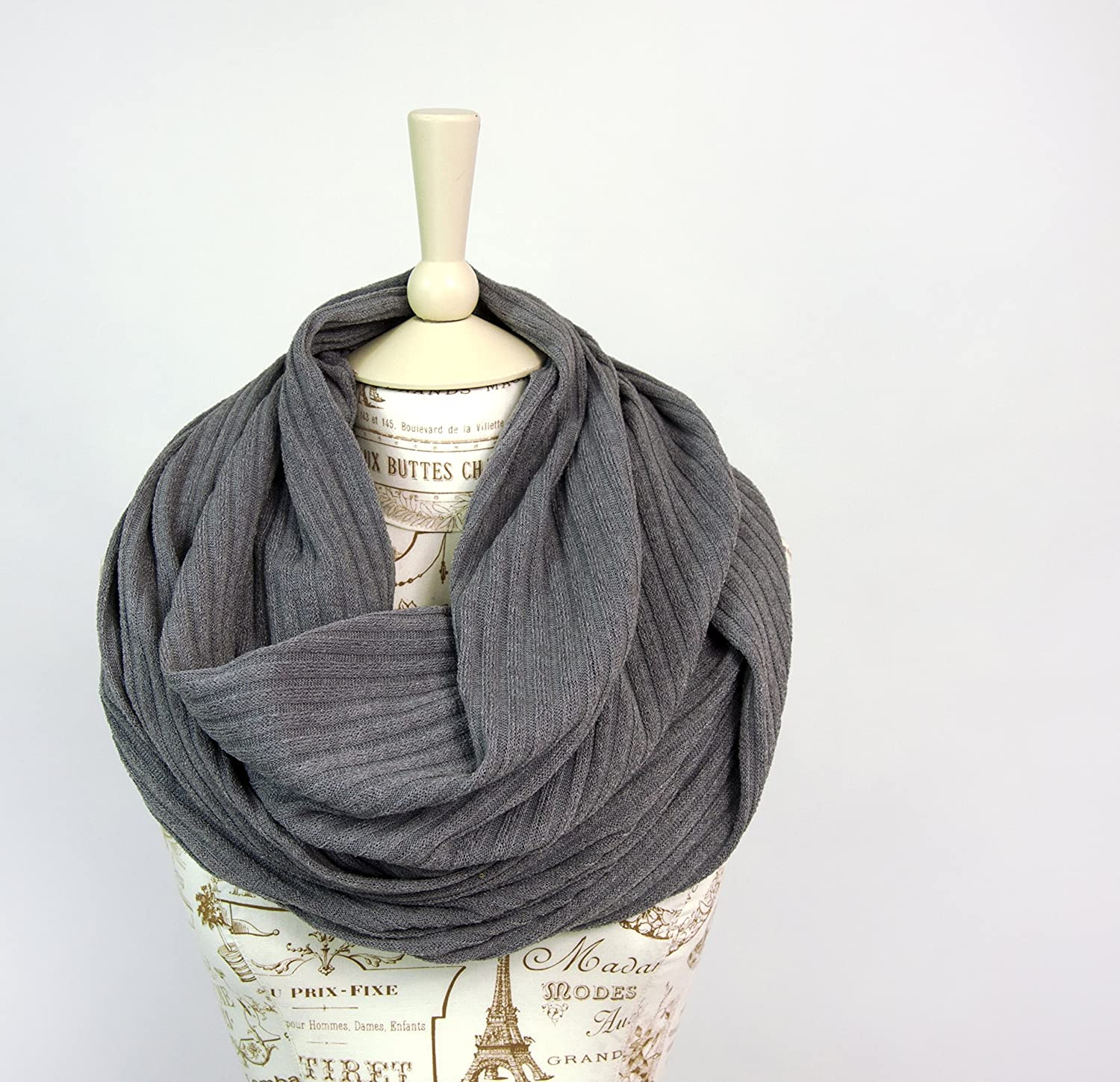 Sweater Ribbed Knit Infinity Scarf (Grey)