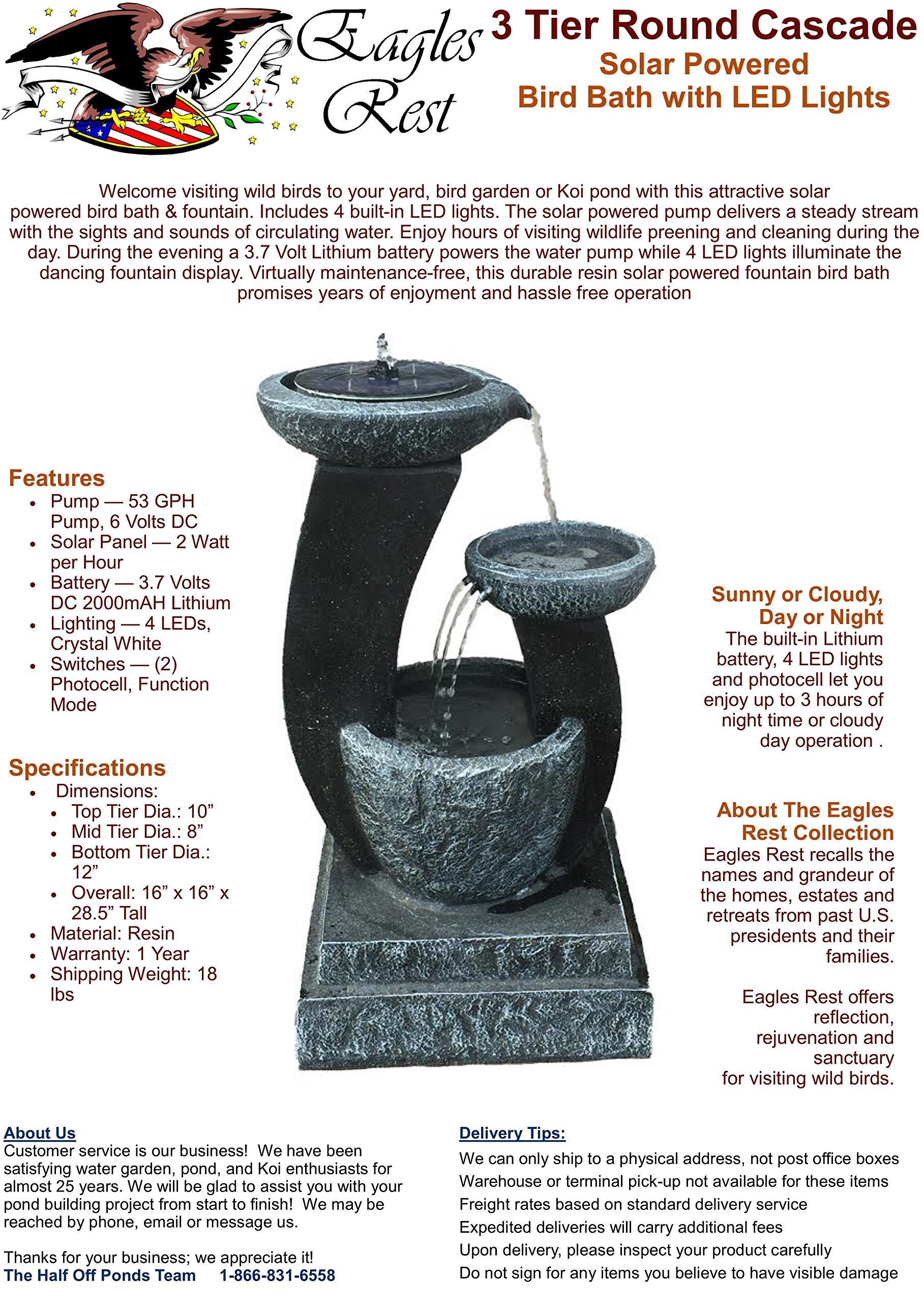 Patriot 3 Tier Cascading Pot Solar Fountain and Bird Bath with LED Lights