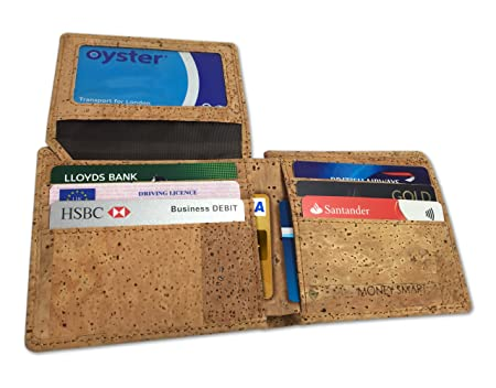 Money Smart Cartera con Bloqueo RFID Anti-Robo para Hombre, Súper Ligera, de Corcho Natural, Capacidad Máxima para Dinero, Tarjetas y Foto Carnés
