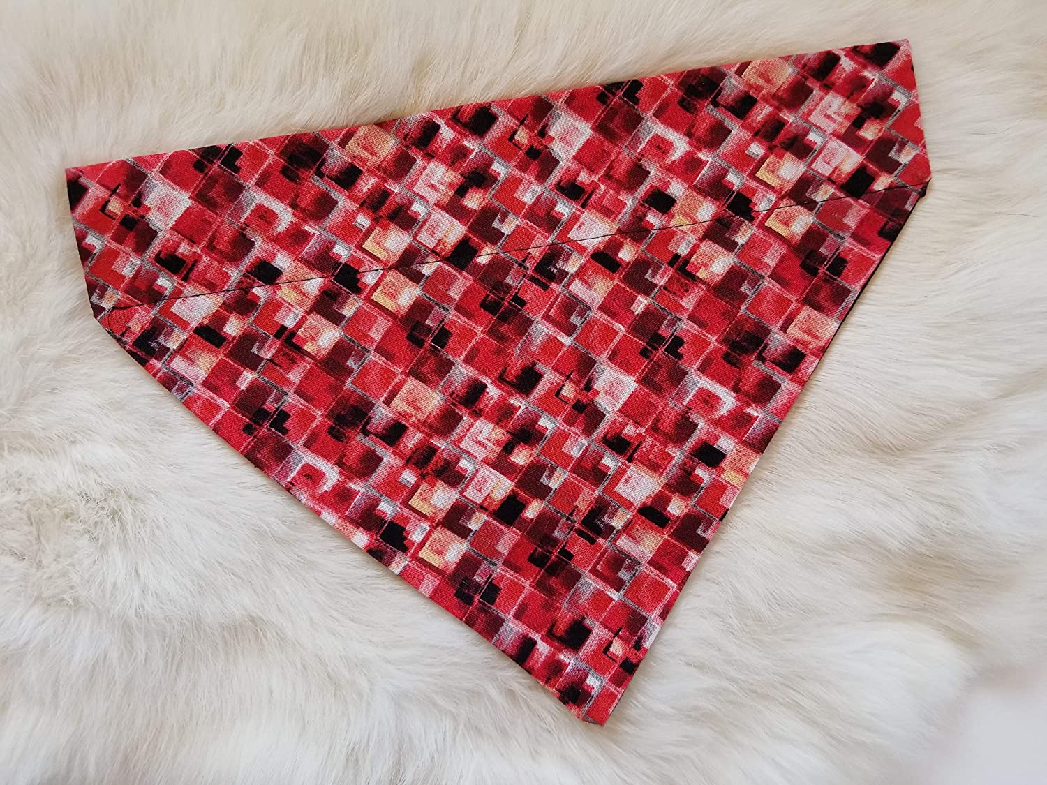 Red Checkers Over the Collar Dog Bandana Small