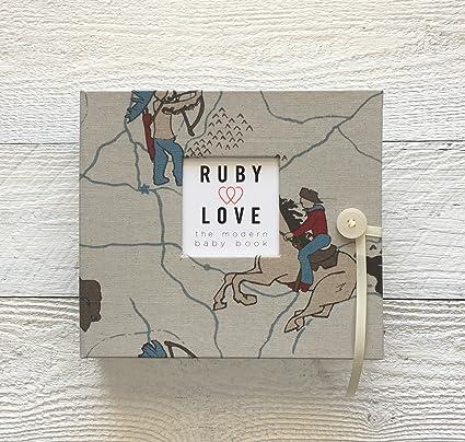 amazon com vintage cowboy baby memory book unique boy baby books