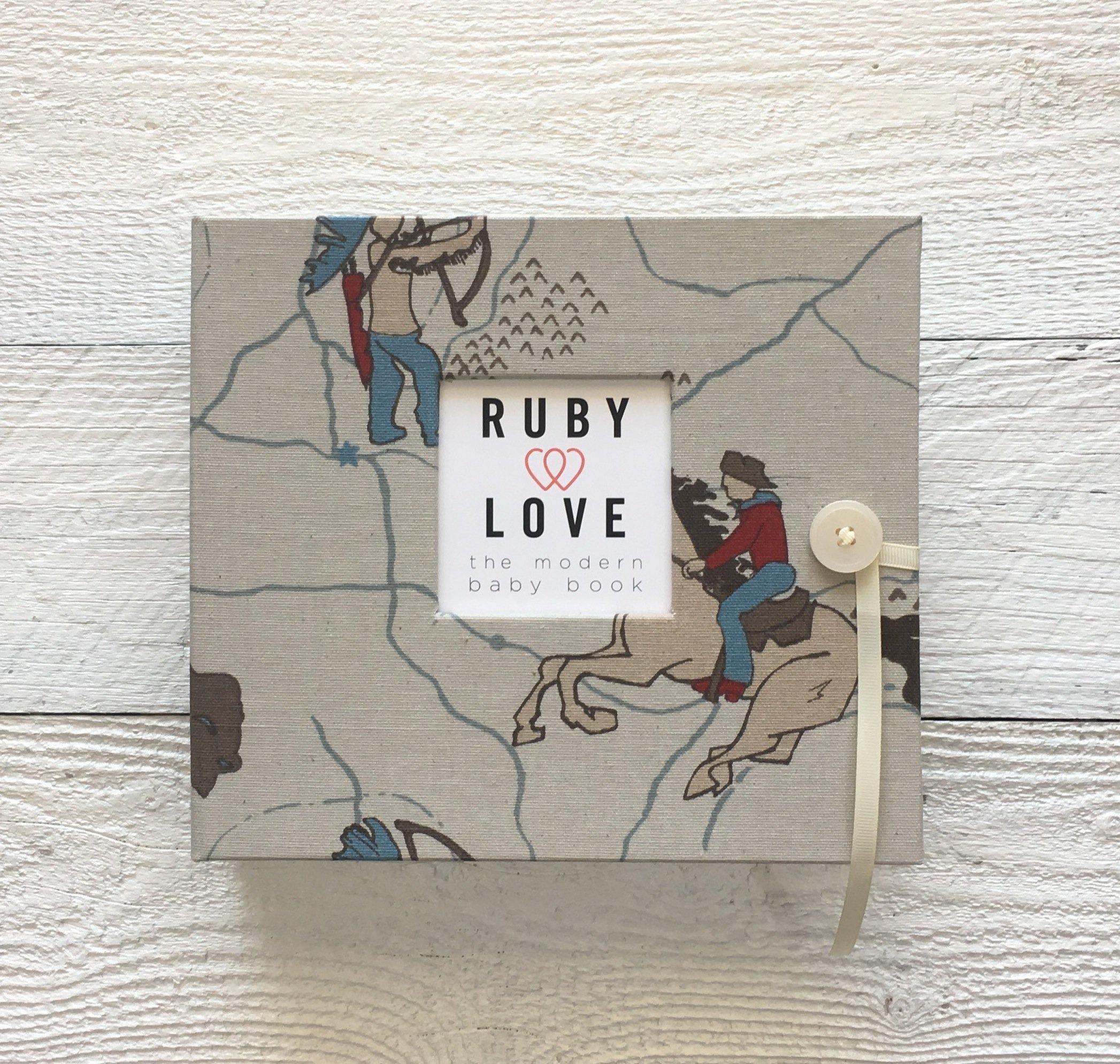 Vintage Cowboy Baby Memory Book - Unique Boy Baby Books