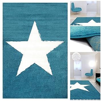 Wohnzimmer Teppich Blau Weiss mit Stern | Teppiche m. ÖKO-TEX ...