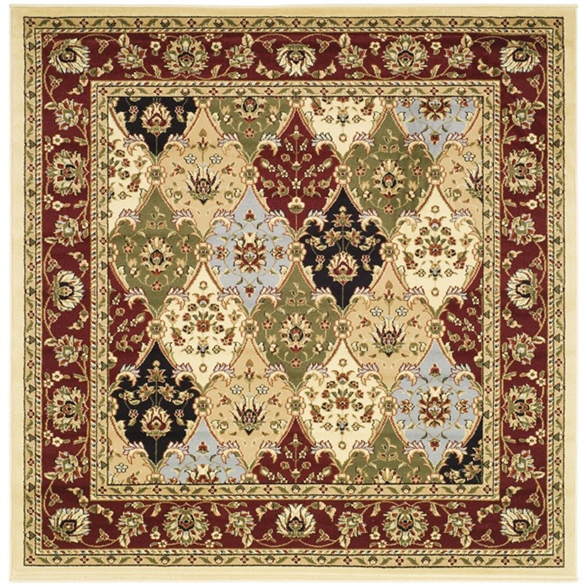 Safavieh Lyndhurst Collection LNH320A Traditional Multi and Red Square Area Rug (8' Square) by Safavieh