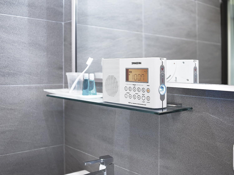 Badezimmer radio  Sangean H201 tragbares Duschradio (UKW/-MW Tuner, wasserdicht, LED ...