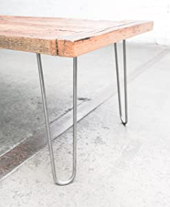 """Industrial By Design - 16"""" Hairpin Legs (Raw Steel) - Industrial Strength - Mid Century Modern - Set of 4, Great for Table Legs"""