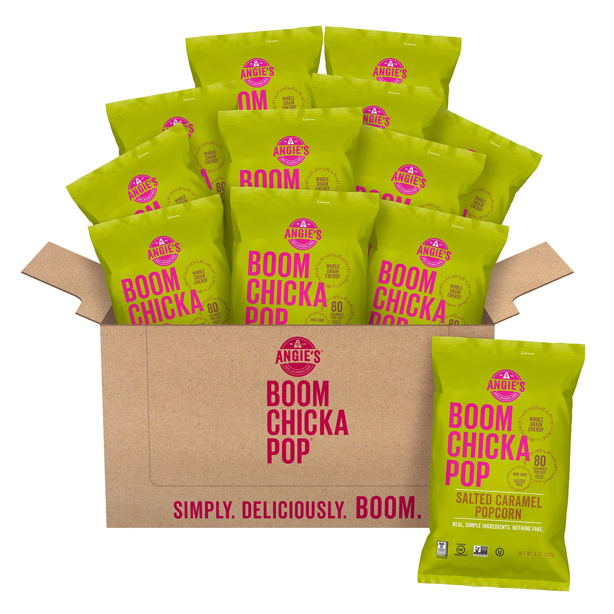 BOOMCHICKAPOP Angie's Vegan Salted Caramel Popcorn, 6 Ounce Bag (Pack of 12 Bags)