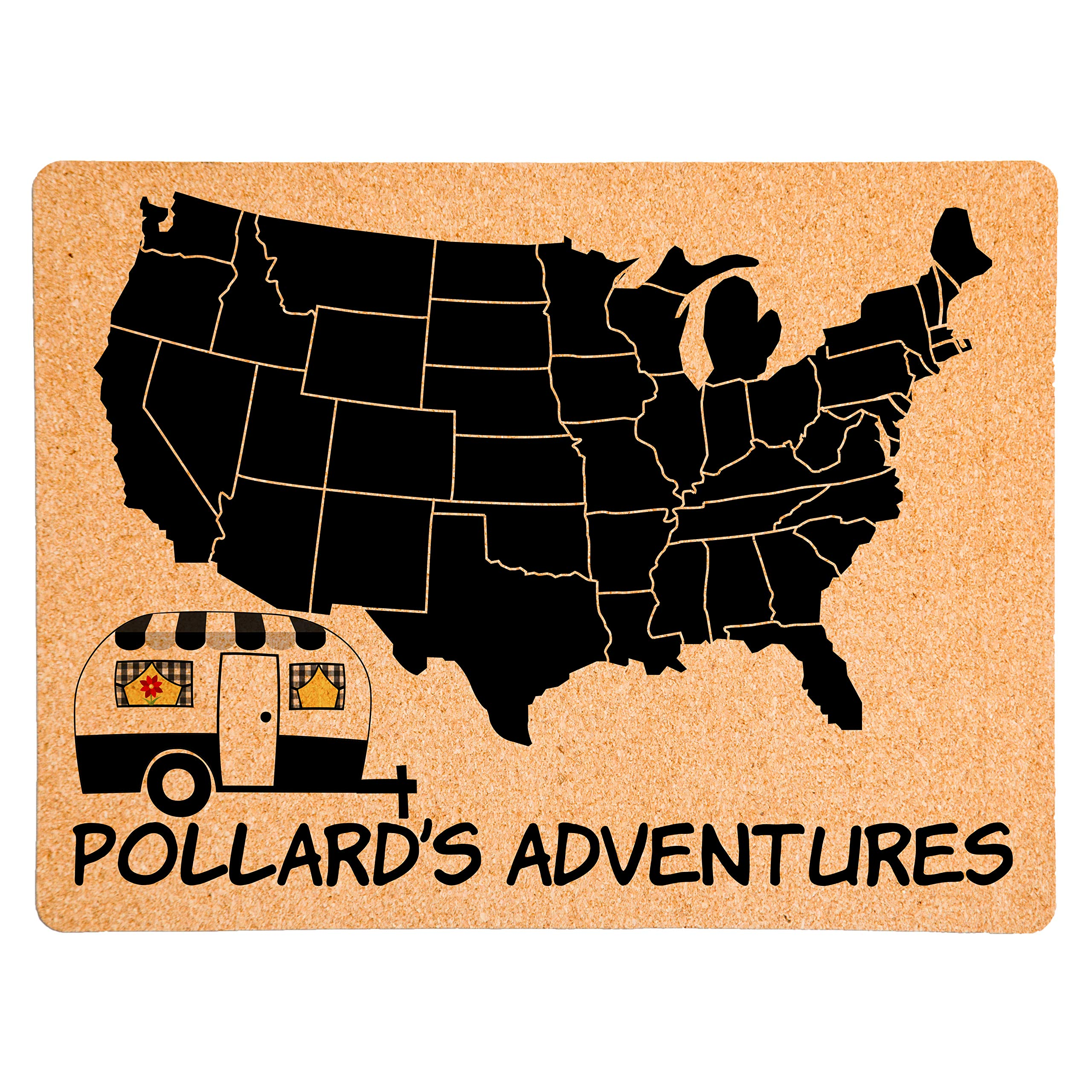 Lindsey Lou Patterns Custom Pushpin Board Map of US, Trailer with Awning (Black)