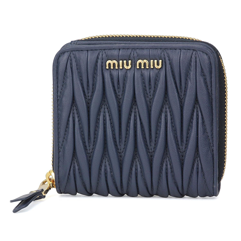 ミュウミュウ(MIU MIU) 2つ折り財布 5ML522 2BPU F0016 マテラッセ ブルー 青 [並行輸入品] B079NY89VM