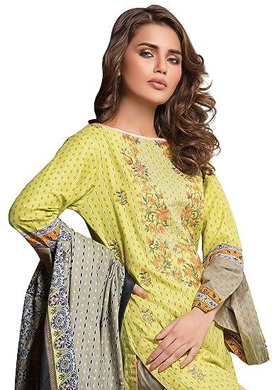 923d65c788 Surkhab Impressions Women's Original Pakistani Pure Lawn Cotton Embroidered  Unstitched Salwar Suit Dress Material: Amazon.in: Clothing & Accessories