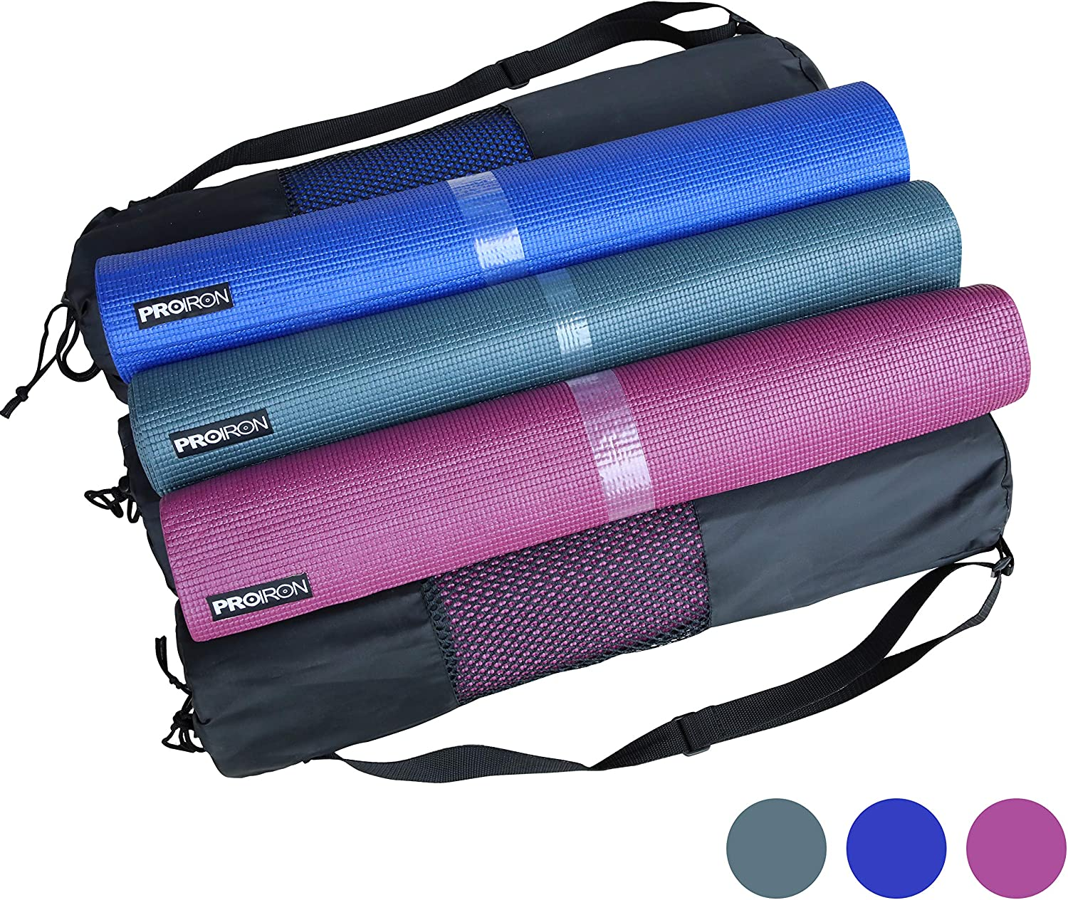 Purple PROIRON Yoga Mat Exercise Mat with Free Travel Carry Bag for Home Gym Fitness 3.5mm or 6mm thick in Blue Dark Green