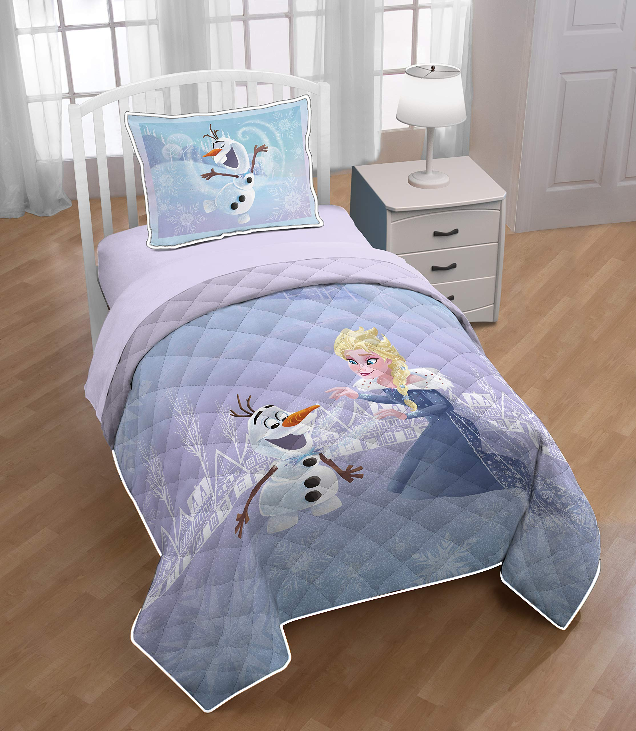 Disney Frozen Twin/Full Quilt & Sham Set - Super Soft Kids Bedding Features Elsa and Olaf - Fade Resistant Microfiber (Official Product) by Disney