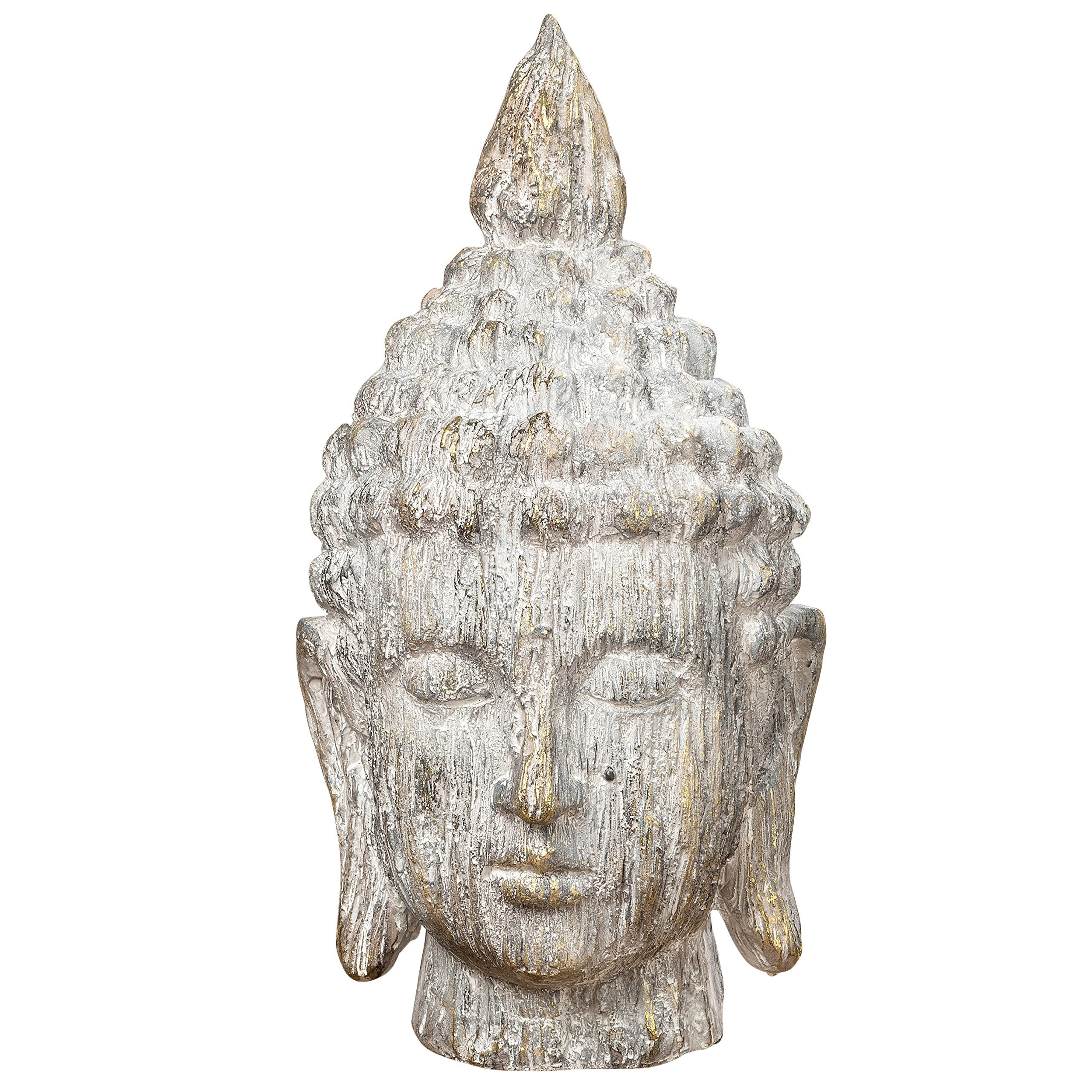 Whole House Worlds The Urban Zen Buddha Head Portrait Bust, For Meditation Zones, Spas,or Gardens, Rustic Gray, Artisan Cast Magnesia, Shabby Distressed Tonal Patina 16 1/4 Inches Tall