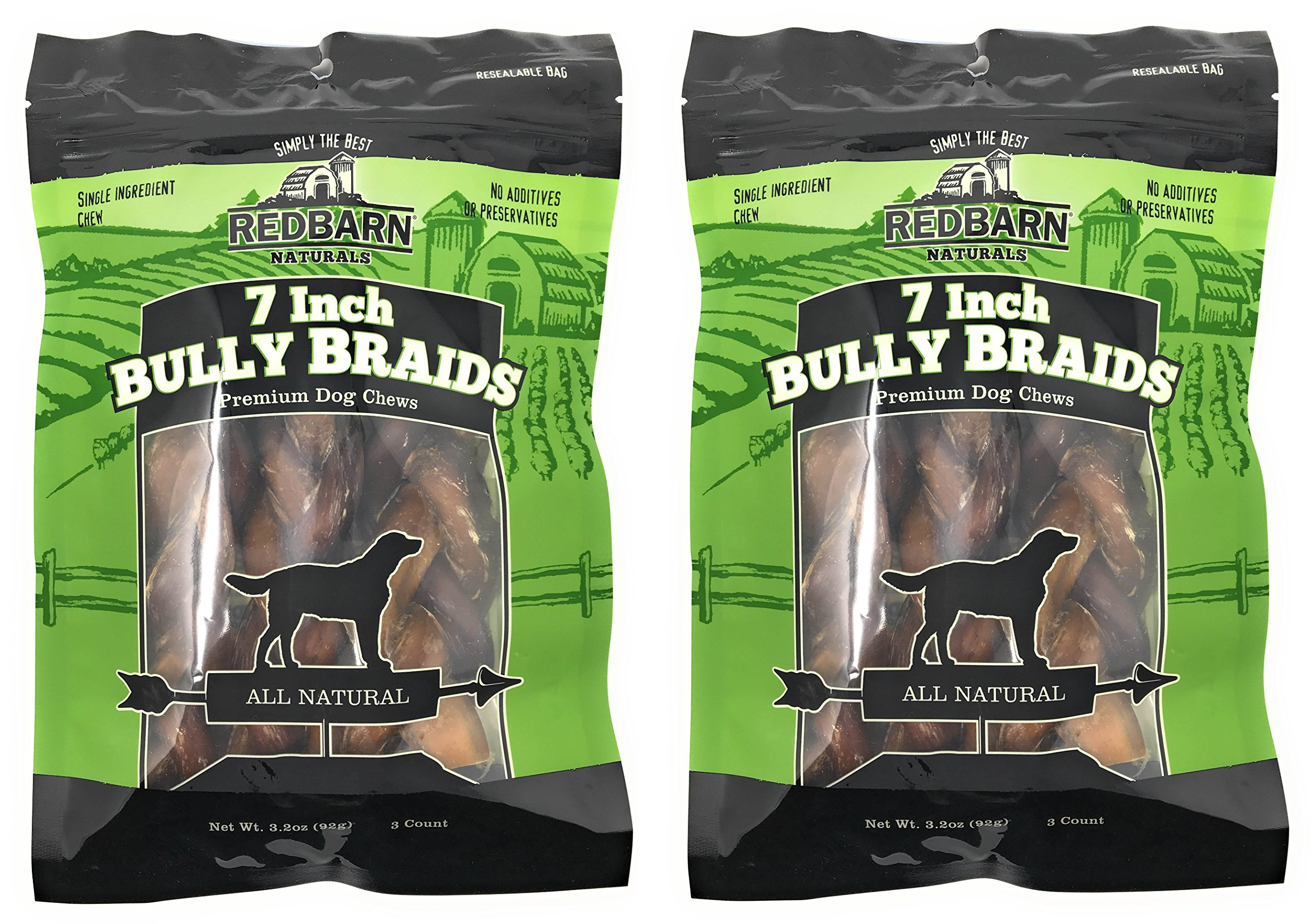 Redbarn 7-Inch Braided Bully Sticks (2-Pack)