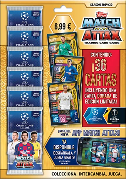 Match Attax-UEFA Champions League Game 2019//20 Pack of 6 Each 36 Cards Topps