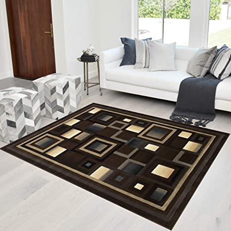 Amazon Com Hr Abstract Chocolate Brown Black Gray Geometric Modern Squares Pattern 8x10 Area Rug 7 8 X 10 2 Kitchen Dining
