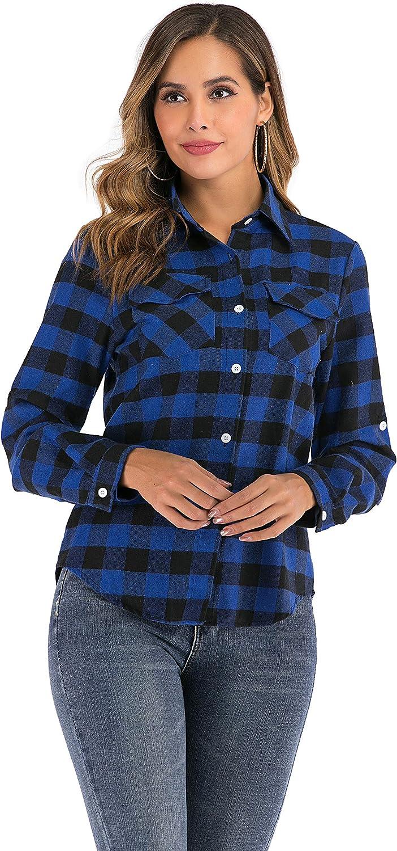 Camisa de Cuadros para Mujers Camisa Basiccon Botones Camisetas Cuello en V Camisas de Vestir Mangas Cortas Casual Oficina Básico: Amazon.es: Ropa y accesorios