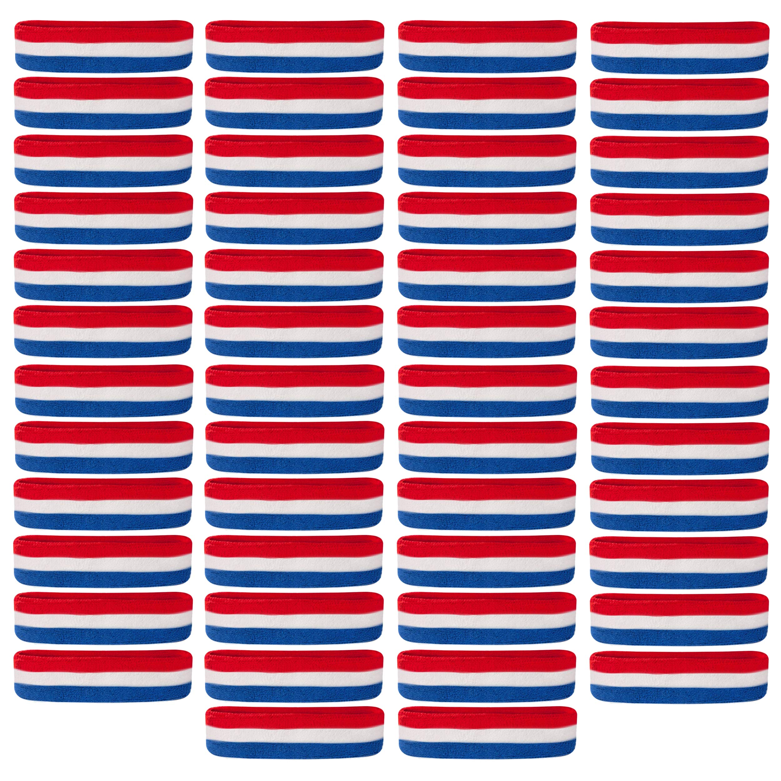 Suddora Sweatbands/Headbands - Terry Cloth Athletic Basketball Head Sweat Bands (Bulk 50-Pack) (Red White Blue) by Suddora