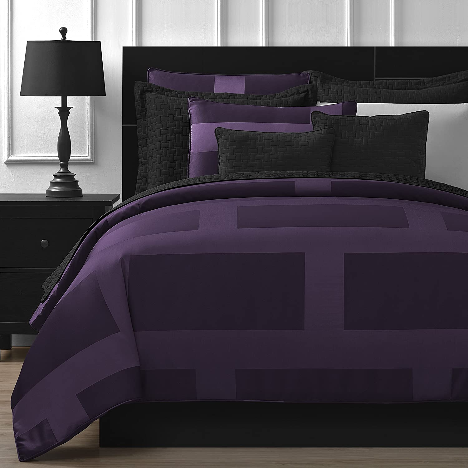 Comfy Bedding Frame Jacquard Microfiber King 5-piece Comforter Set, Plum