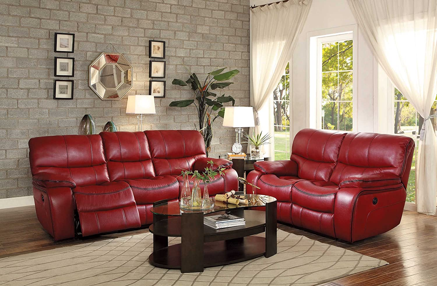 Amazon.com: Homelegance Pecos Modern Design Power Double Reclining Sofa  Leather Gel Match, Red: Kitchen U0026 Dining