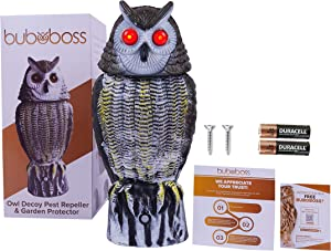 Fake Owl Bird Scarecrow Decoy Buboboss - 4 in 1 - Plastic Owl Bird Deterrents with 4 Unique Features: Rotating Head, Realistic Hoot, Red Flashing Eyes, Solar Powered Motion for Outdoor, Garden & Yard
