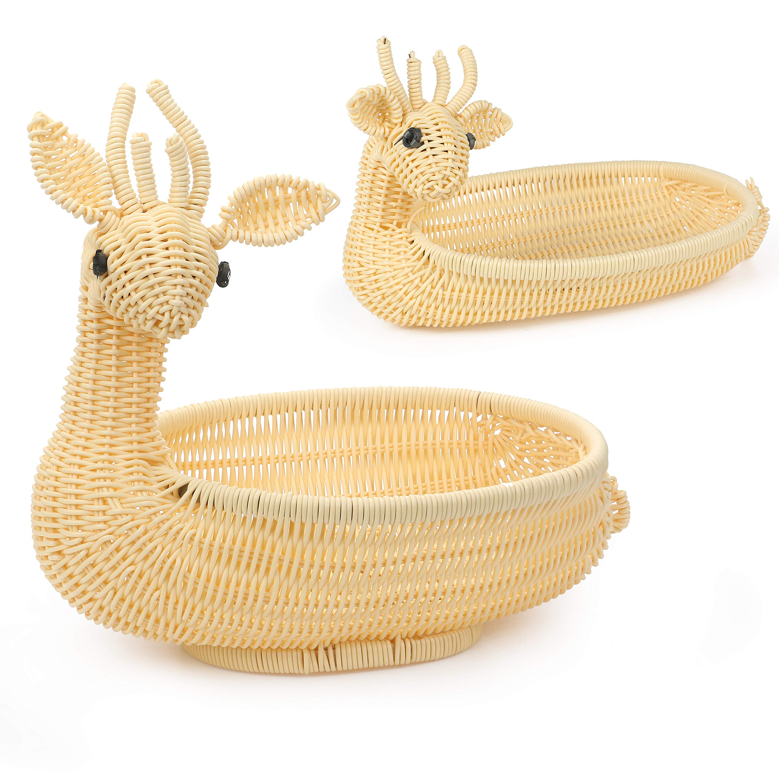 WesCastle Fruit Basket,Decorative Storage Basket, Food-grade Material Handmade Braiding, Set of 2 Pieces(Cheese color)